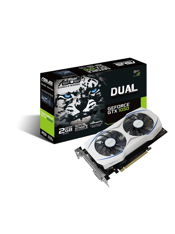Asus nVidia GEFORCE GTX 1050 2GB Dual-fan OC Edition DVI-D HDMI DP 1.4 Gaming Graphics Card (DUAL-GTX1050-O2G)