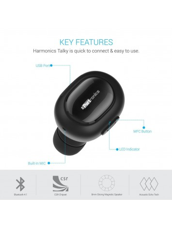 Portronics Harmonics Talky Invisible Mini Bluetooth Earbud for Phone Calls/Music With Sweat Proof - POR-683