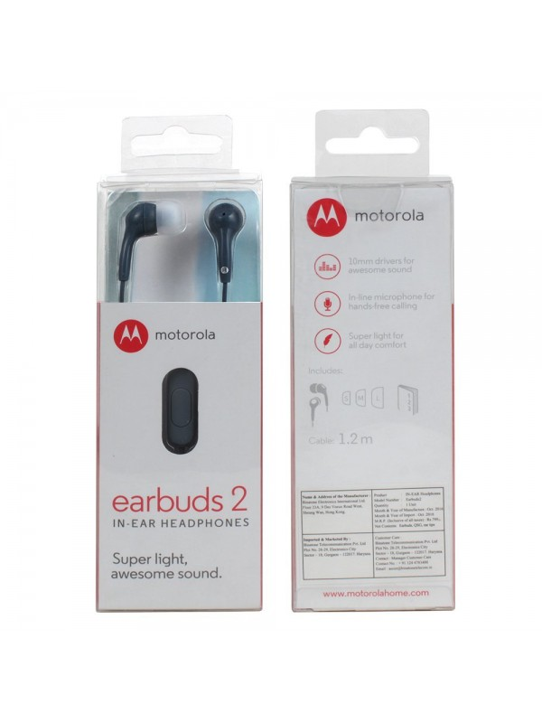 Motorola Earbuds 2 In-Ear Wired Earphones/Headphones With Mic (Slate)