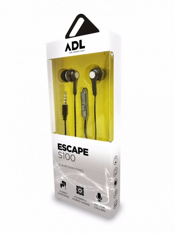 ADL ESCAPE S100 Wired Earphone with in-Line Mic (Black)