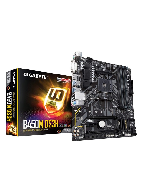 Gigabyte B450M DS3H Micro ATX AMD Motherboard - AM4 Socket