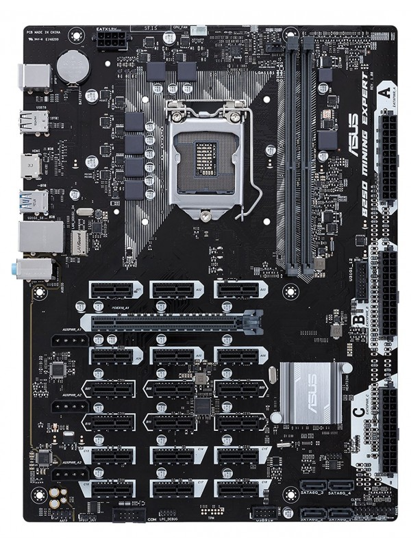 ASUS B250 Mining Expert Motherboard for Cryptocurrency Mining - 19 PCIe Slots