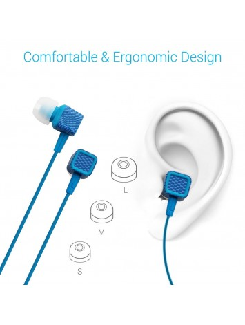 Portronics Conch 206 In-Ear Stereo Headphones - Pair Of 2, Blue & Red