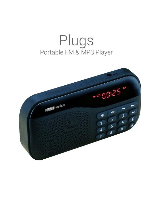 Portronics Plugs Portable Speaker POR-141 (Black) - AUX+FM+MICRO SD+LED DISPLAY