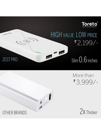 Toreto Zest Pro Wireless Charger / Power Bank 10000 mAh with QI Charging Chip Compatible with All Smart Phones