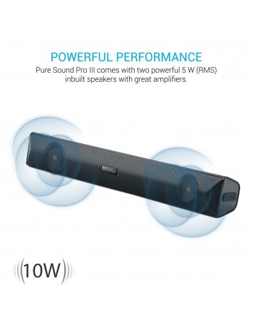 Portronics Pure Sound Pro III Wireless 10W Portable Sound Bar Bluetooth Speaker (POR-891)