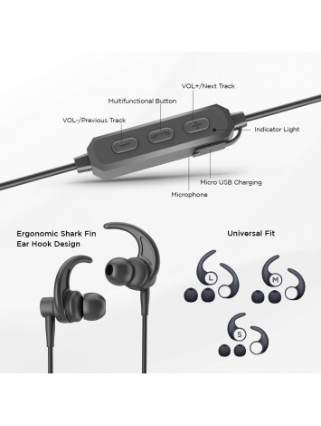 ADL Footloose X4 Wireless Stereo Bluetooth Earphones with Mic/Deep Bass/Water Resistant/Bluetooth V 5.0/Shark Fin Ear Hook Sports Design (Black)