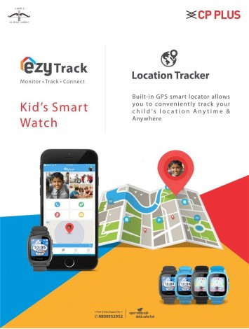 CP Plus EzyTrack Kids Smart Watch with Camera (CP-TK4), Anti-Lost Finder with GPS Tracker, Sim Card and Parents Control App for Android (Black)