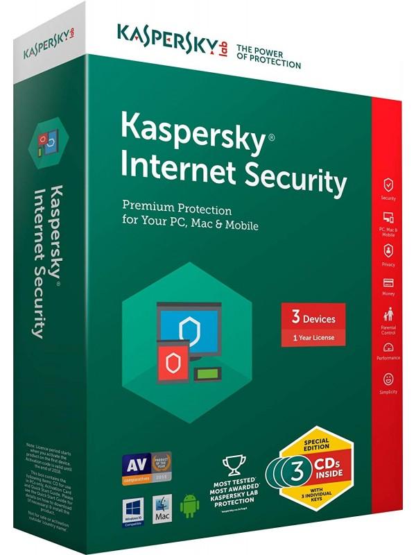 Kaspersky Internet Security Latest Version - 3 Users, 1 Year (3 CDs inside with 3 keys)