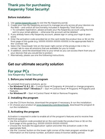 Kaspersky Total Security Latest Version - 3 Users, 1 Year (1 CD inside with 1 key)
