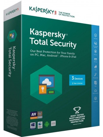 Kaspersky Total Security Latest Version - 3 Users, 1 Year (3 CDs inside with 3 keys)
