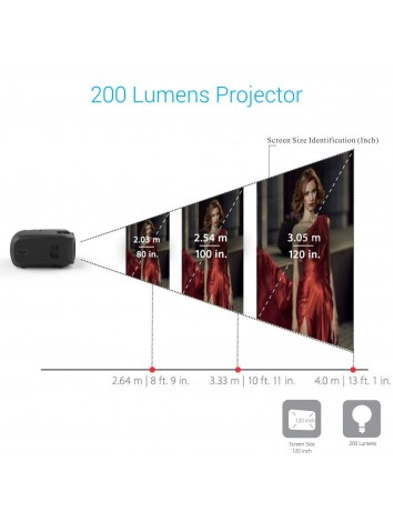 Portronics BEEM 200 Lumen Bright Full HD Multimedia LCD Projector (120 inch Large Screen/HDMI/VGA/USB/AV/SD Card Slot/Audio Output)