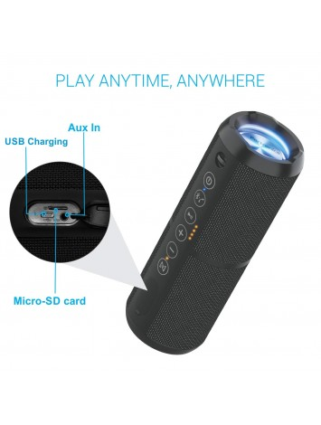 Portronics Breeze II Bluetooth Portable Stereo Speaker with TWS/ Micro SD Card/ Aux in/ Water Resistant/ 2000mAh Battery/ 20W - Black