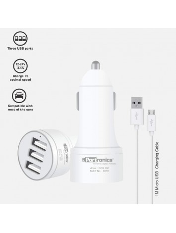 Portronics Car Power 3T Car Charger 3.4A with 3 USB Ports, 1M USB Cable, White (POR-380)