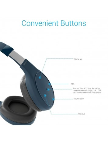 Portronics Muffs Plus Wireless Bluetooth Headphone with Mic - Blue (POR-662)