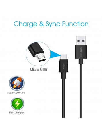 Portronics Konnect Core 1M Micro USB Cable with Charge & Sync Function Black (POR-654)