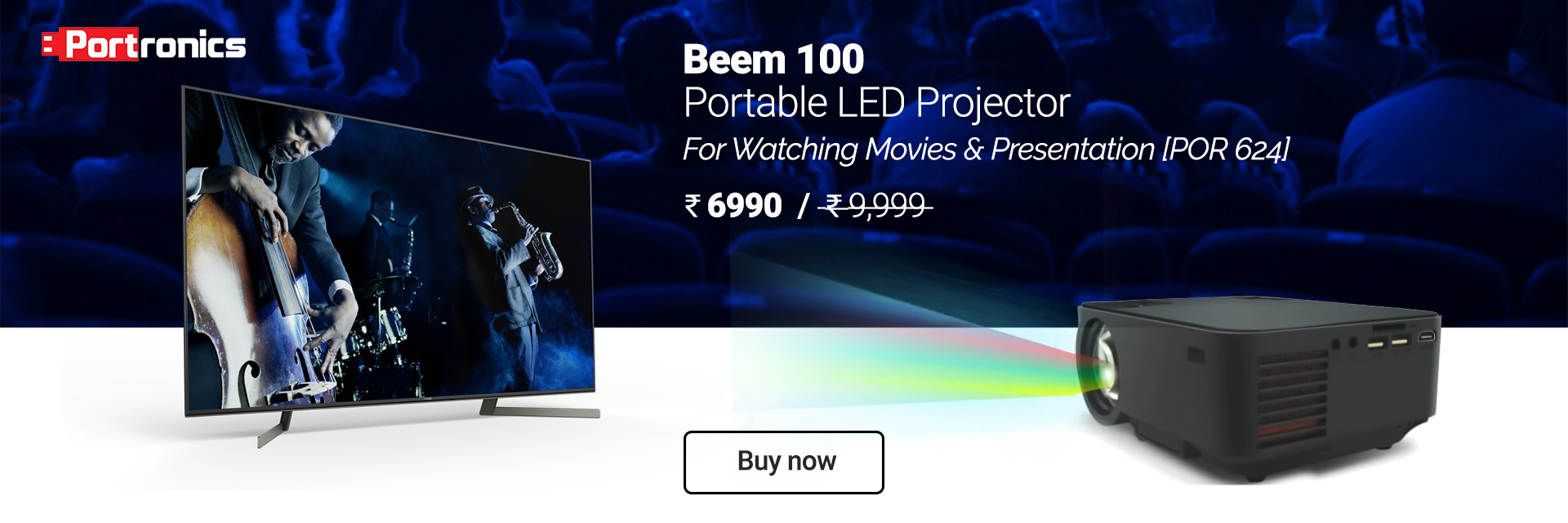 Portronics Beem 100 Portable LED Projector