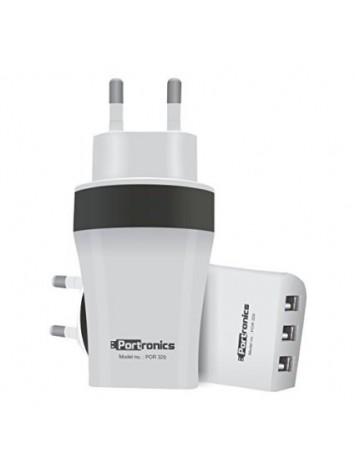 Portronics AC USB Plug 3.4Amp 3 Port Charger - White