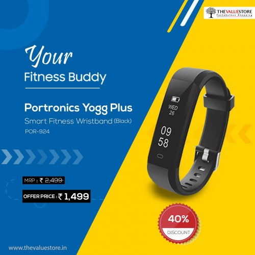 Portronics Yogg Plus Smart Fitness Wristband (Black) POR-924