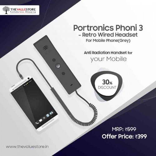 Portronics Phoni 3 - Retro Wired Headset For Mobile Phone(Grey)